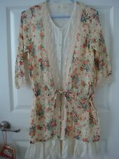 Japan Blonde Girl Yellow, Beige & Orange Floral Dress with Lace Trim