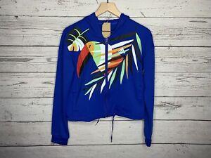 Adidas x Farm Rio Womens Blue Toucan Print Full Zip Hoodie Shirt Size Medium NWT