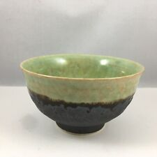 "Japanese Rice Soup Dessert Bowl 4.75""D Ceramic Bronze Jade Crackle Made in Japan"