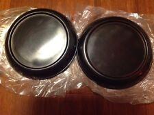 "2 Hosley 8"" Pillar Black Metal Candle Holder Plates"