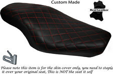 DIAMOND BRIGHT RED STITCH CUSTOM FITS HARLEY SPORTSTER 883 1200  DUAL SEAT COVER