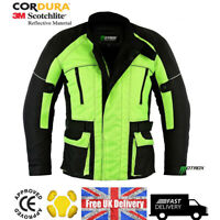 Motorbike HiVis Textile Jacket, CE Approved Armour Motorcycle Cordura Waterproof