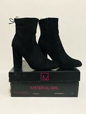 Material Girl Ali Black-Tie Booties 11M Retail $69