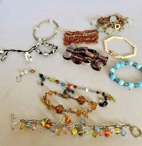 Lot of 10 Bead Glass Stone Bracelet Vintage to Now Estate and Thrift Finds