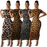 US Lovely Women's O Neck Short Sleeves Leopard Print Bodycon Club Long Dress