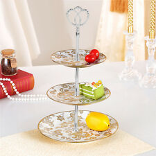 3 Tiers Cupcake/Fruit Stand with Crown Shaped Top Handle Fitting-Silver