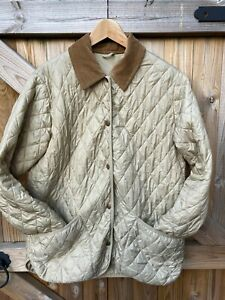 BARBOUR L2100 BAR92 FLYWEIGHT LANGDALE QUILT BEIGE QUILTED CORD COLLAR JACKET-14