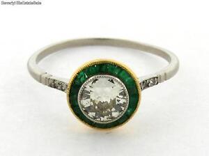 Art Deco .53 Carat Diamond Emerald Platinum Gold Ring