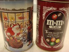 M&M'S Chocolate Vintage Metal Tin Set Large Round Cookie Jar Christmas Santa Lot
