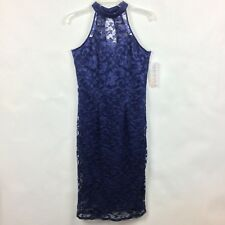Almost Famous Dress XL Blue Lace Lined Sleeveless Women's