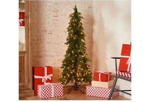 Bethlehem Lights 5' Slim Green Downswept Christmas Tree QVC Holiday Home Clear
