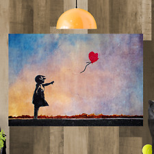 Bansky Balloon Girl Rainbow Framed Canvas Art Picture Print