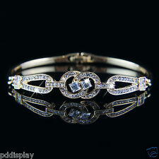 14k Gold plated elegant solid crystals bangle bracelet with Swarovski elements