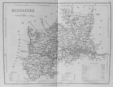 Old antique map Middlesex par J Archer c1840's Londres gravure du 19ème siècle
