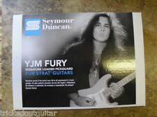 SEYMOUR DUNCAN YJM FURY PREWIRED PICKGUARD FOR FENDER STRAT STRATOCASTER WHITE