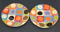 """Set of 2 Pier 1 One Urban Dot Earthenware Hand Painted Dinner Plates - 11 1/2"""""""