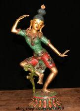 """16 """"Tibet Buddhismus Bronze Türkis Padmapani Lokeshvara Tara Buddha Statue"""