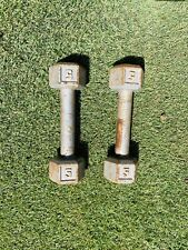 Dumbbell Pair (2) Of 5 (lb) Pound Hex Cast Iron Weights (10lbs total)