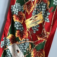 "RARE Vintage Ralph Marlin 57"" Oblong Wine Theme Silk Scarf Pinot Chardonnay"