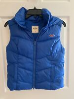 Hollister Puffer Vest Hooded Cropped Womens/Teen Blue Down Filled Sz Small EUC!