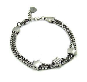 Bracciale da donna in acciaio inox con stelle zirconi strass bianco braccialetto