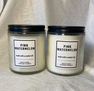 PINK WATERMELON SCENTED CANDLE Two Single wick  Bath & Body Works Essential Oils