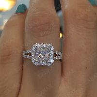 2.50 ct Princess Cut Diamond 10k White Gold Halo Engagement Ring