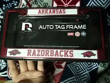 Arkansas Razorback Official NCAA RARE Red Metal License Plate Auto Tag Frame NEW