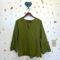 Ann Taylor Large Olive Green Textured Knit Split Neck Flare Sleeve Blouse Top