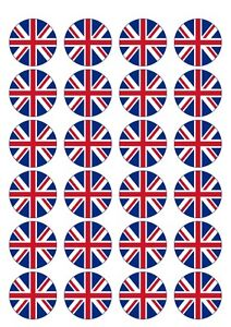 24X PRECUT UNION JACK BIRTHDAY EDIBLE WAFER PAPER CUPCAKE CAKE TOPPERS 1068