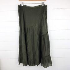 Nic + Zoe Women's 12 Maxi Skirt Green Ruffle Embroidered Long