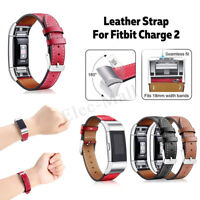 For Fitbit Charge 2 Replacement Leather Bracelet Wristband Watch Band Strap Belt