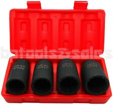 "4pc 1/2"" Dr Deep Spindle Axle Nut Socket Set 12 POINT METRIC 30mm 32mm 34mm 36mm"