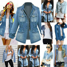 Women Retro Long Sleeve Denim Jacket Ladies Tops Short Jeans Coat Casual Outwear