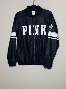 Victoria's Secret PINK XS Small Black Logo Windbreaker Full Zip Jacket Hood