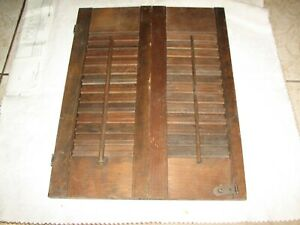 Interior Wood Shutters Total Size 20 by 30 3/4 Inches Good Condition