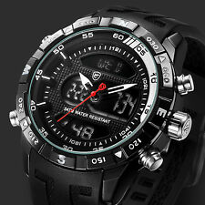 SHARK Men Boy Black Rubber Strap LCD Dual Movement Date Alarm Quartz Sport Watch
