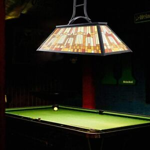 Vintage 3-Light Pool Table Light Pendant with Tiffany-Style Printed Shade for Ga
