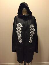 Alexander Wang x H&M Black Rubber Rain Jacket Coat White Design NWT