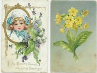 (2) Antique  Post Card c. 1908 GREETING CARDS Flowers   Raphael Tuck & Sons
