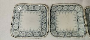 Set of 5 English Victorian Small Blue and White Square Porcelain Butter Pat dish