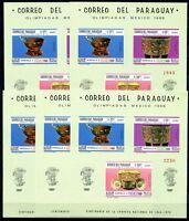 5x Paraguay 1967 Olympiade Olympics Mexico Block 108 Postfrisch MNH KW €150