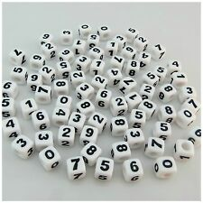 100PCS 7MM WHITE/BLACK 0-9 NUMBER Acrylic Cube BEADS FOR Jewellery Making
