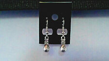"ANTIQUE SILVER ""MONEYBAG"" DANGLE EARRINGS HANDMADE"