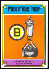 1974-75 OPC O PEE CHEE HOCKEY #247 BOSTON BRUINS PRINCE OF WALES TROPHY NM CARD