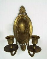 Vintage 2 Arm Oval Brass Wall Hanging Candlestick Holder