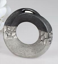 Deko Vase MODERN STONES Ø 18cm silber grau Keramik Formano