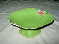 A Vintage Unmarked Green Tiger Lily Pattern Ceramic Comport Bowl