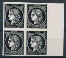 Bloc de 4 timbres 170 ans du type Cérès à 0.20 € non dentelés bdf a droite