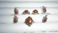 ORANGE MOJAVE TURQUOISE 3 RINGS AND 2 SETS OF EARRINGS RING SIZES = 2 #7'S 1 #8